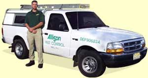 Image of one of Allison Pest Control's service vehicles.